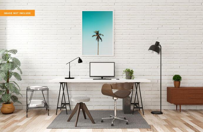 相框模型与客厅工作台三维渲染