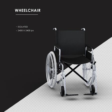 孤立的金属轮椅从右前方角度看