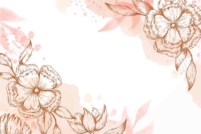 手绘壁纸与手绘花卉元素