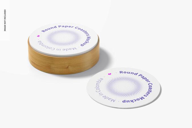 带盒子模型的圆形纸杯垫