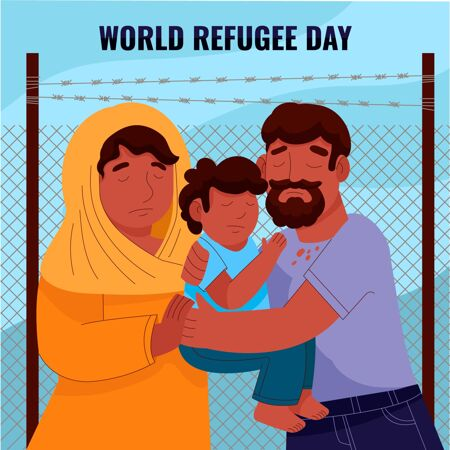 卡通世界难民日插画
