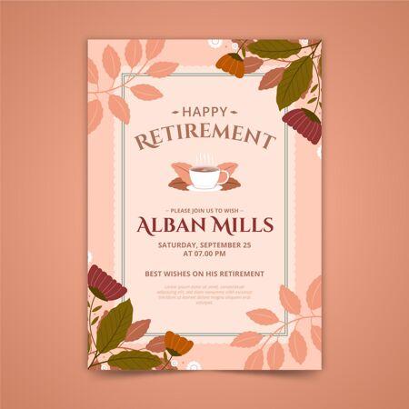 带叶子的退休贺卡模板