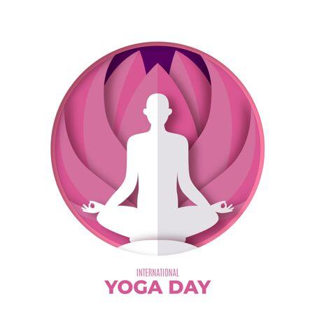 国际瑜伽日纸制插图
